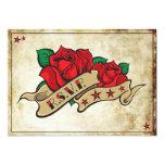 "Rockabilly Tattoo Rose Rocker RSVP Cards 5"" X 7"" Invitation Card"