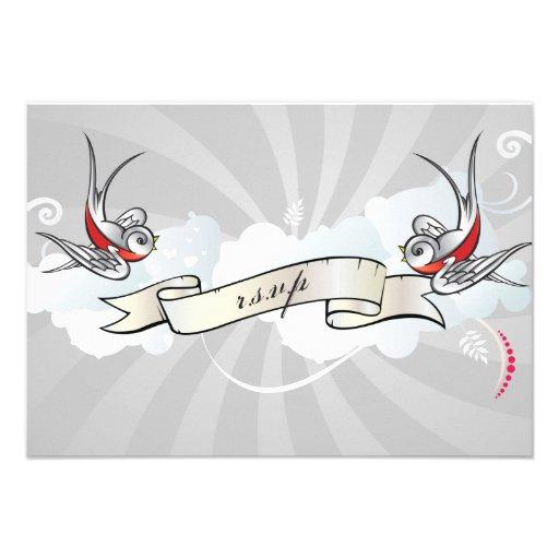 Rockabilly Tattoo Swallows RSVP Reception card