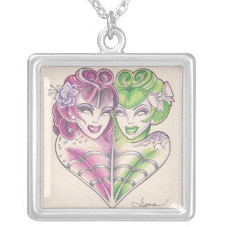 Rockabilly Tattoo Twins. Square Pendant Necklace