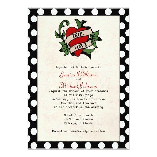 """Rockabilly Wedding 5"""" X 7"""" Invitation Card"""