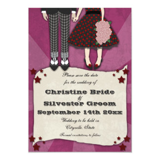 Rockabilly Wedding, 5x7 save the date 5x7 Paper Invitation Card