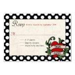 """Rockabilly Wedding RSVP 3.5"""" X 5"""" Invitation Card"""