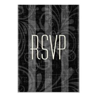 Rockabilly Wedding RSVP Black & Grey Striped Card