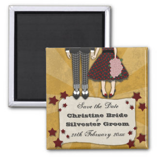 Rockabilly Wedding, save the date 2 Inch Square Magnet