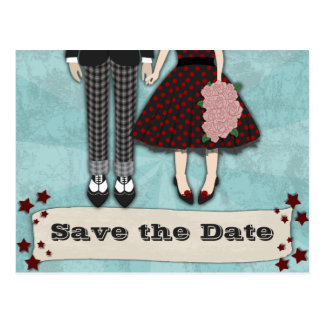 Rockabilly Wedding, save the date Post Card