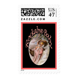 RockaBye Baby Lullaby Watercolor Postage Stamp