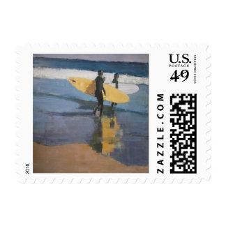 Rockaway Beach Winter Surfers Postage Stamps