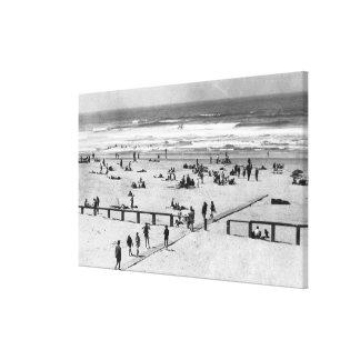 Rockaway, escena de la playa de Oregon y nadadores Impresión En Lona