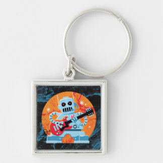 Rockbot Silver-Colored Square Keychain