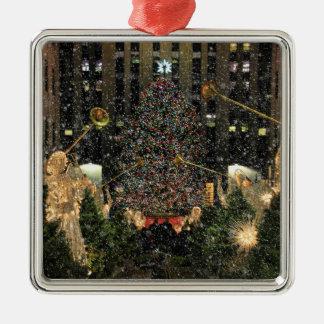 Rockefeller Center Christmas Tree, Angels, Snow Square Metal Christmas Ornament