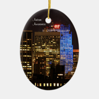 Rockefeller Center lit up blue for Autism 2012 Double-Sided Oval Ceramic Christmas Ornament
