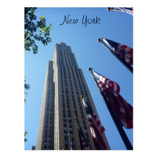 rockefeller flags up ny postcards
