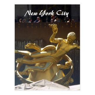 rockefeller gold statue postcard