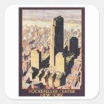 Rockefeller Nueva York de centro Calcomania Cuadradas Personalizada