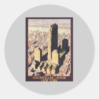 Rockefeller Nueva York de centro Pegatina Redonda