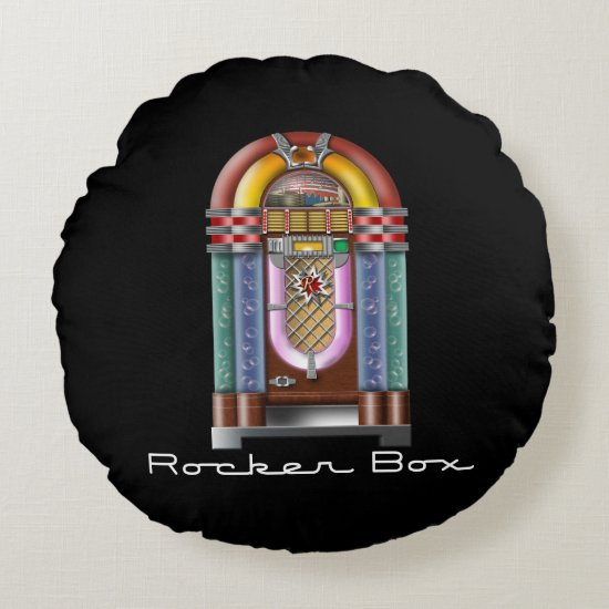 Rocker Box JukeBox Retro Rock Round Pillow