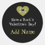 Rocker Boy Funky Valentine's Day Treat Sticker