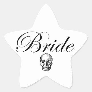 Rocker Bride Goth Skull Star Sticker