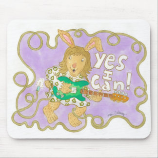 """rocker bunny believes """"YES I CAN!"""" Mousepads"""