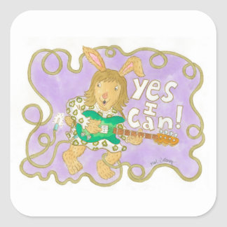 """rocker bunny proclaims """"YES I CAN!"""" Square Sticker"""