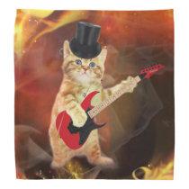 rocker cat in flames bandana