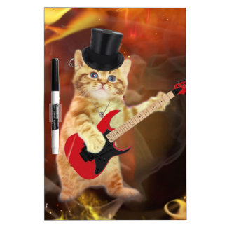 rocker cat in flames Dry-Erase board