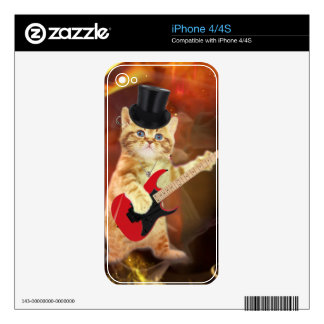 rocker cat in flames iPhone 4 skins