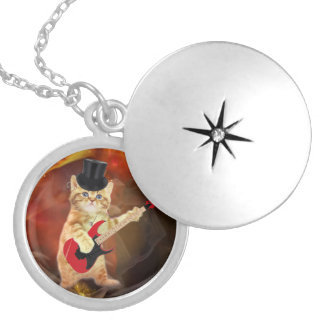 rocker cat in flames silver plated necklace