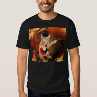 rocker cat in flames T-Shirt