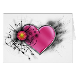 Rocker chic heart with spiked cross card