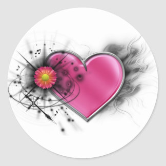 Rocker chic heart with spiked cross classic round sticker
