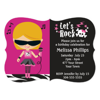 Rocker Chick Birthday Party Announcements
