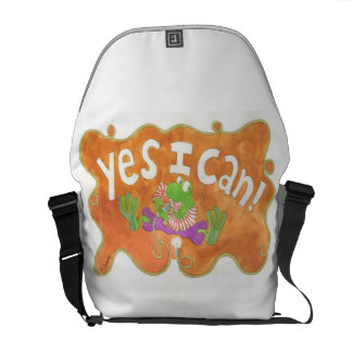 """rocker frog sings from his heart """"YES I CAN!"""" Messenger Bags"""