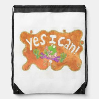 "rocker frog sings ""YES I CAN!"" Drawstring Bags"