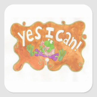 """rocker frog sings """"YES I CAN!"""" Square Sticker"""
