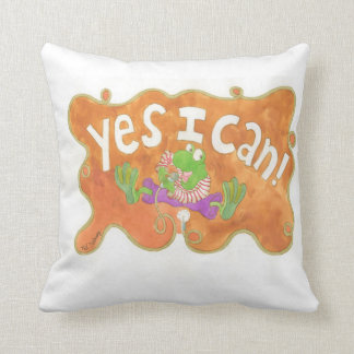 """rocker frog sings """"YES I CAN!"""" Throw Pillow"""