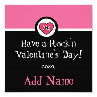 """Rocker Girl Funky Valentine 5.25"""" Square Invitation Card"""