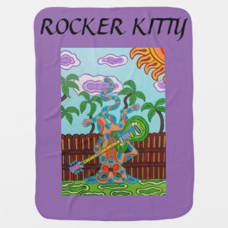 Rocker Kitty Receiving Blanket