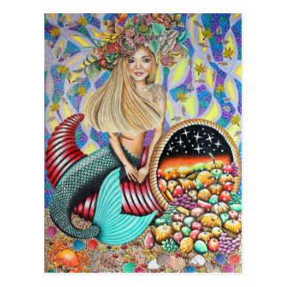 Rocker Mermaid And The Enchanted Cornucopia Postcard