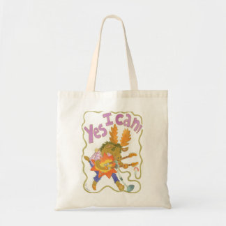 "Rocker moose named Bug proclaims ""YES I CAN!"" Budget Tote Bag"