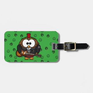 rocker owl luggage tag
