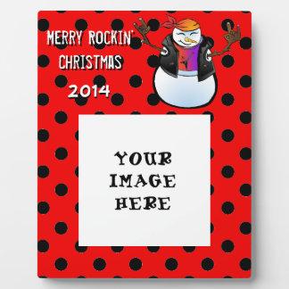 Rocker Snowman Polka Dot Add Your Image Plaque
