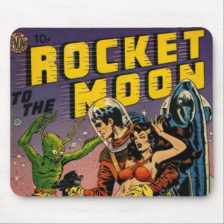Rocket a la luna cómica tapete de ratón