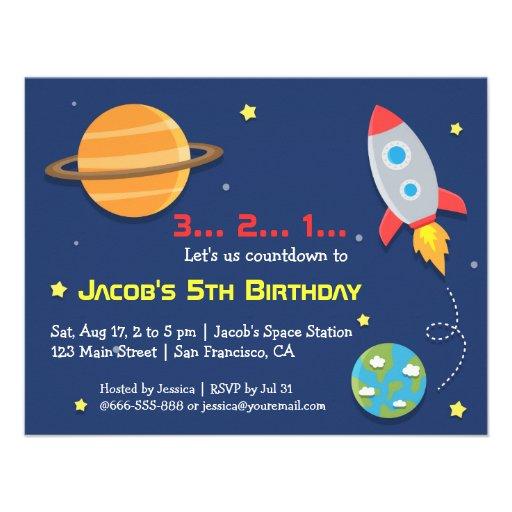 Rocket al fiesta del espacio exterior, cumpleaños  anuncio