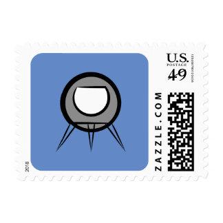 Rocket Alien Space Ship Cartoon Icon Blue Stamp