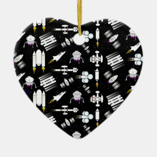 Rocket and Spaceship Pattern in stars Ceramic Ornament