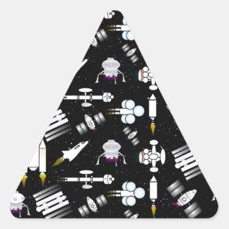 Rocket and Spaceship Pattern in stars Triangle Sticker