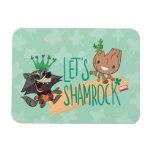 "Rocket & Baby Groot ""Let's Shamrock"" Magnet"