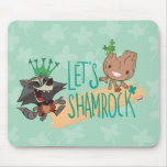 "Rocket & Baby Groot ""Let's Shamrock"" Mouse Pad"