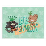 "Rocket & Baby Groot ""Let's Shamrock"" Postcard"